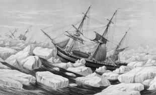 Illustration non datée montrant les navires de Sir John Franklin, le HMS Erebus et le HMS Terror.