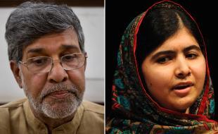 Malala Yousafzai, à droite, et Kailash Satyarthi s'adressent aux représentants des médias le 10 octobre 2014 après avoir remporté le prix Nobel de la paix. (AP Photo/Rui Vieira, Bernat Armangue)