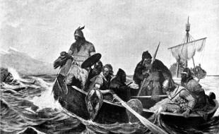 Reproduction en noir et blanc d'une peinture d'Oscar Wergeland (1844-1910) montrant des Scandinaves dans un bateau.