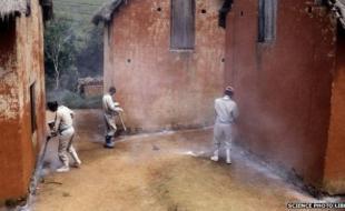 Des travailleurs peuvent utiliser des insecticides pour essayer d'arrêter les flambées de peste. [Photo via la BBC Science Library]